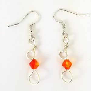 b54197c01 Jewelry - 1.75 inch Silver Earrings with Orange Crystal Bead